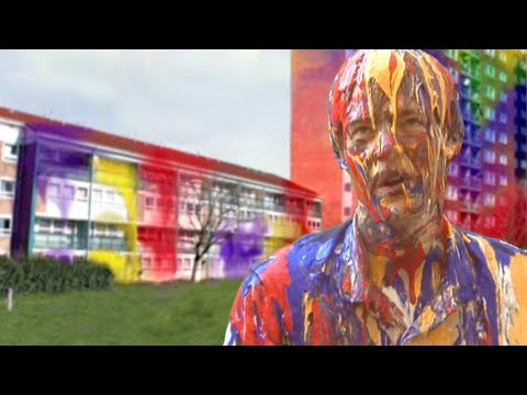 LLP81 - Funny spoof - exploding paint advert aftermath. Painted man.