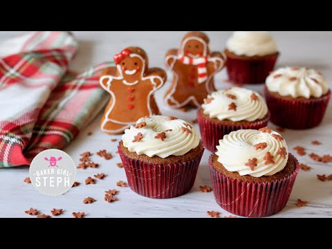 HOW TO MAKE GINGERBREAD CUPCAKES || Holiday Recipe