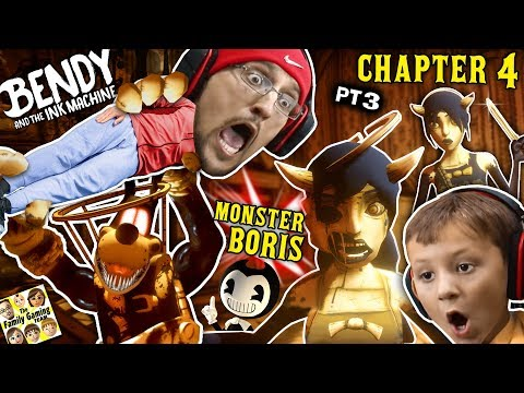BORIS the MONSTER WOLF & Two Alice Angels? Bendy & the Ink Machine BOSS Fight (FGTEEV Chapter 4 #3) (видео)