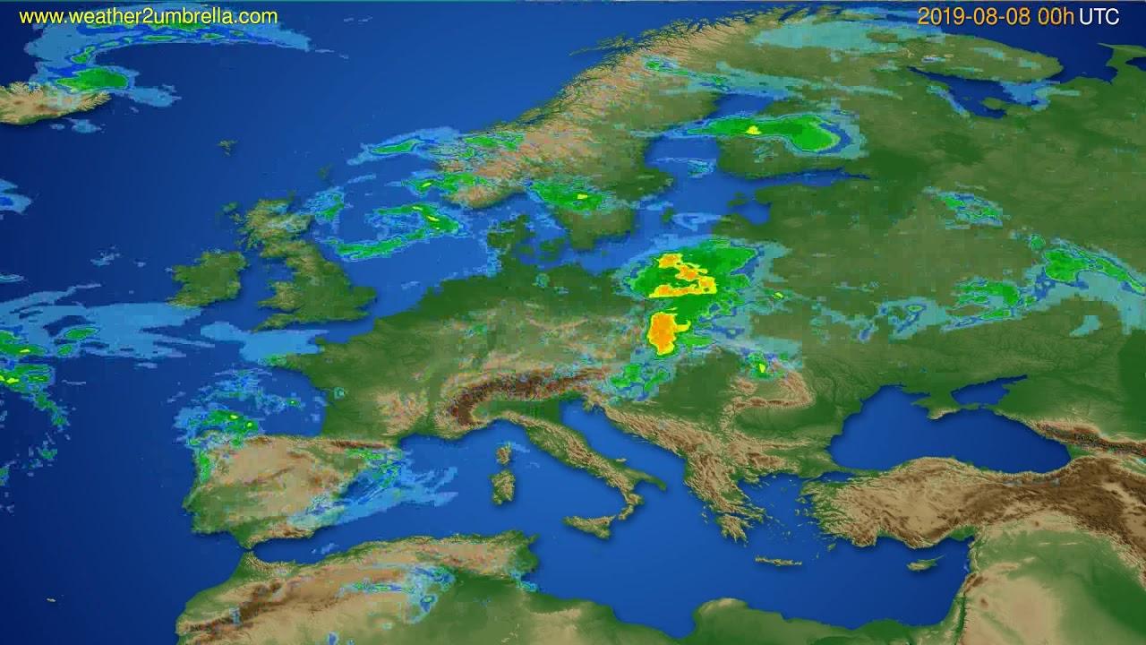 Radar forecast Europe // modelrun: 12h UTC 2019-08-07