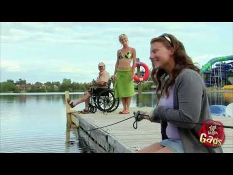 Man in wheelchair falls In Water