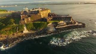 Its always worth taking the drone on trips. Flight over Puerto Rico, Castillo San Felipe del Morro. Castillo San Felipe del Morro also known as Fuerte San Fe...