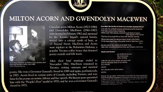 Unveiling of the Heritage Toronto plaque honouring poets Milton Acorn & Gwendolyn MacEwen on Ward's Island, Toronto, ...