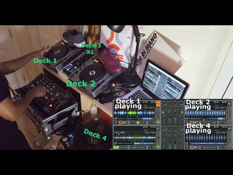 No Sync Dj Tutorial: 3 & 4 Deck Mixing (Deep House/Deep Funk) w/ Rotary Mixer