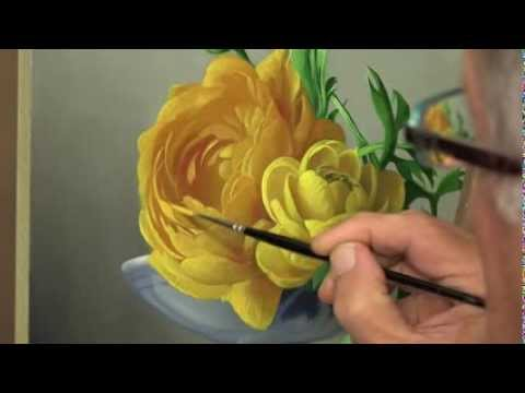 flower painting - Pieter Wagemans , the Belgian Flower Painter demonstrate his style of painting. All was used by oil paint .