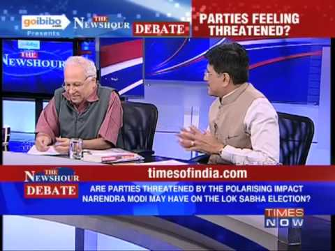 newshour - In a debate moderated by TIMES NOW's Editor-in-Chief Arnab Goswami, panelists -- Piyush Goyal, MP Rajya Sabha, BJP & Natl Treasurer; Devang Nanavati, Spokesp...