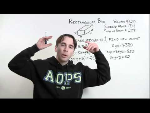 MATHCOUNTS Mini # 16 - Beziehungen zwischen einer Box  's Abmessungen, Volumen und Fläche