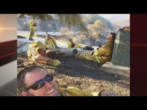 Man takes selfie while battling southern California fires