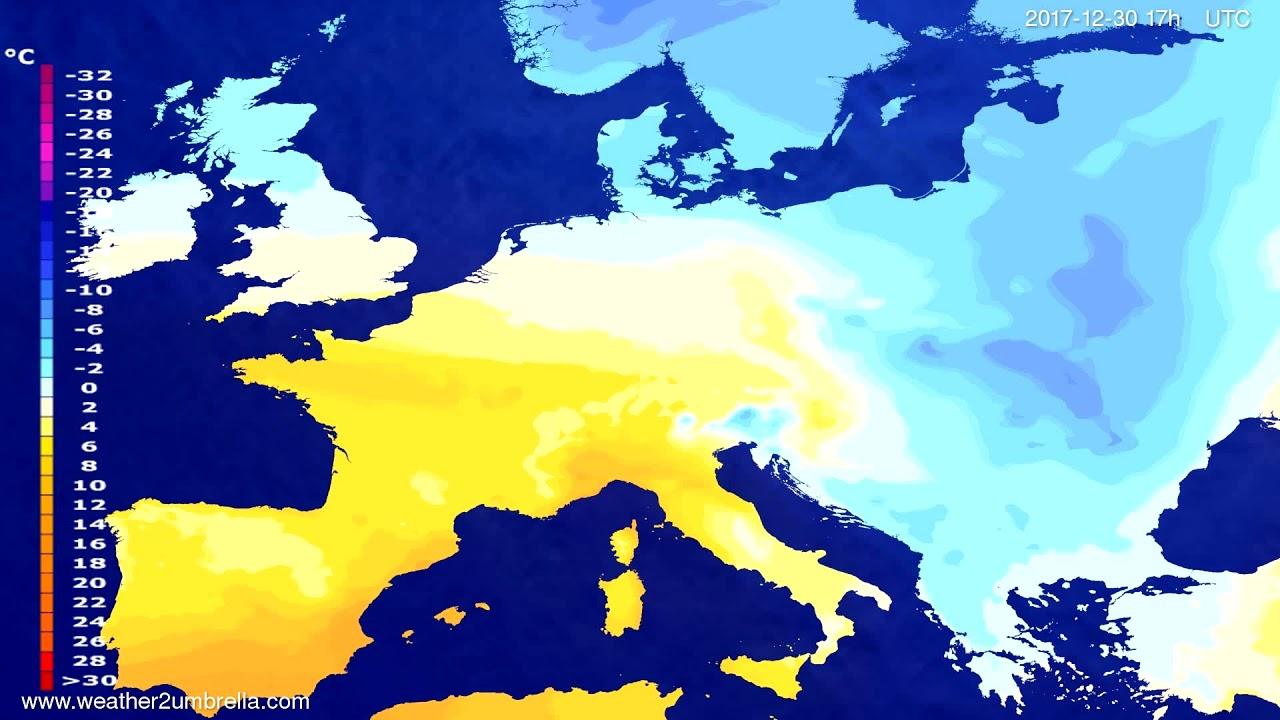 Temperature forecast Europe 2017-12-28