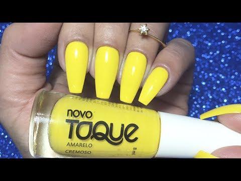 Unhas decoradas - Esmalte Novo Toque - Amarelo  REVIEW ‹ Unhas da Lalá ›