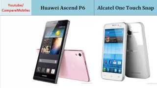 Huawei Ascend P6 Vs Alcatel One Touch Snap, all specifications : Ascend P6 Vs One Touch Snap, Full Specification Comparison: Quad-core, 1.5 GHz, 720 x 1280 pixels, 4.7 inches, Quad-core, 1.2 GHz, 540 x 960 pixels, 4.5 inches, Ram, Display, LTE, Internal Memory, Alert types, Bluetooth and more