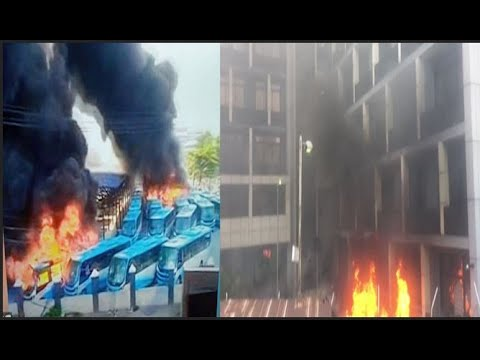 Houses,BRT Buses Set On Fire By Angry Hoodlums In Lagos After the shooting of protesters at Lekki