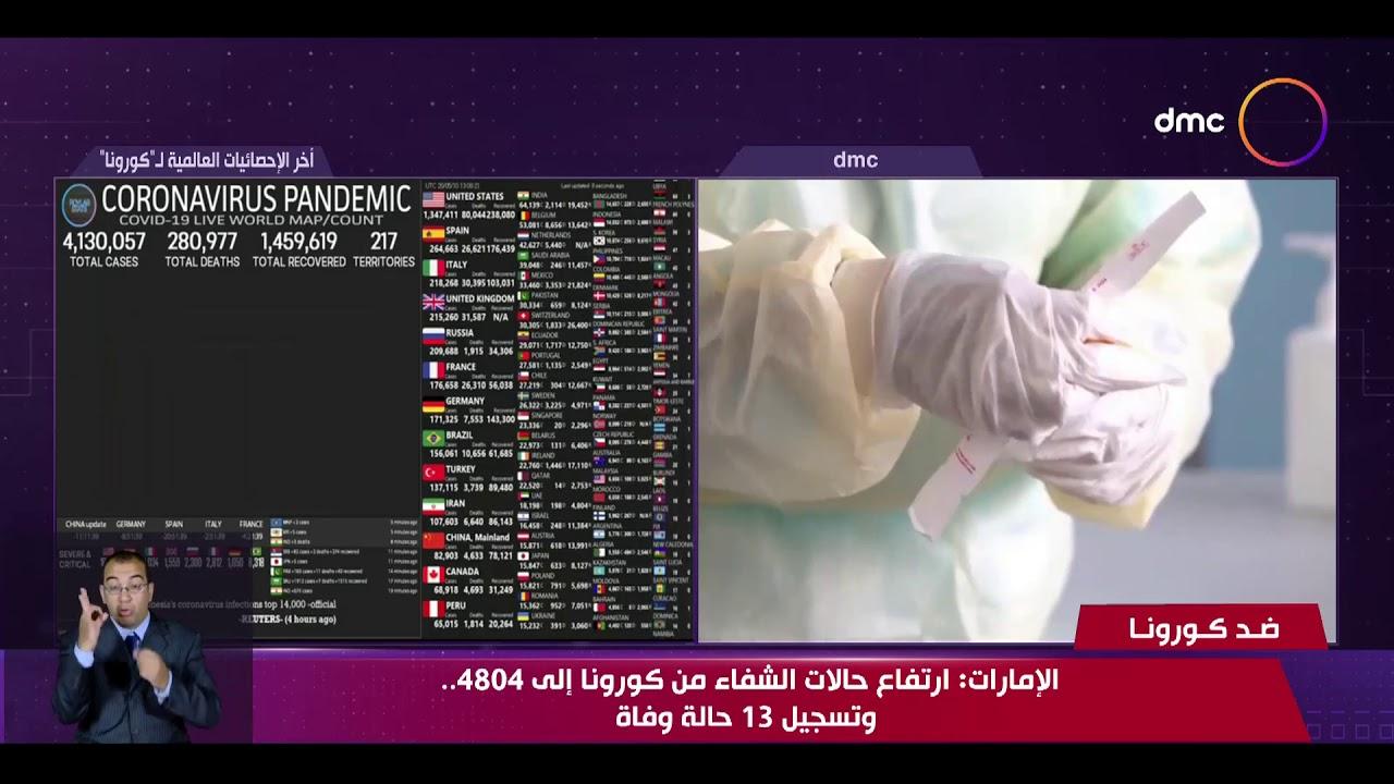 نشرة ضد كورونا - الإمارات: ارتفاع حالات الشفاء من كورونا إلى 4804.. وتسجيل 13 حالة وفاة