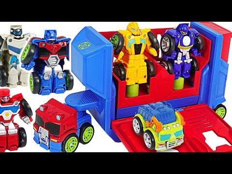 Transformers Rescue Bots Academy Flip Racers Bumblebee, Optimus Prime Launcher! #dudupoptoy