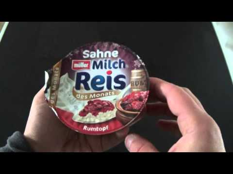 Müller Milchreis des Monats - Rumtopf - Test unboxing deutsch
