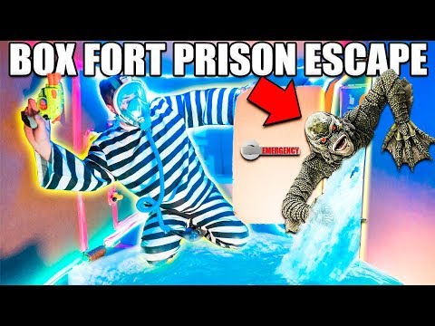 UNDERWATER BOX FORT PRISON ESCAPE Scary Monster!!