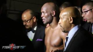 Bernard Hopkins moments after TKO loss to Joe Smith Jr. - Fans shout