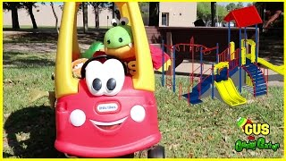 Outdoor Playground Fun for Children! Family Fun Park with Slides and Driving Little Tikes Cozy Coupe