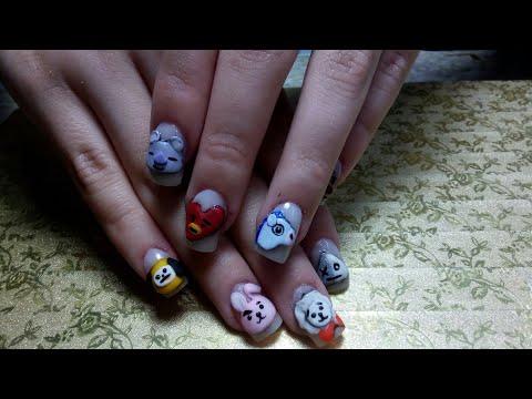 Decorados de uñas - Uñas para niña de BTS (peluches del grupo)/ uñas que brillan en la obscuridad