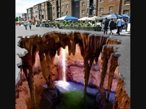 Straßenmalerei mit Kreide in 3D