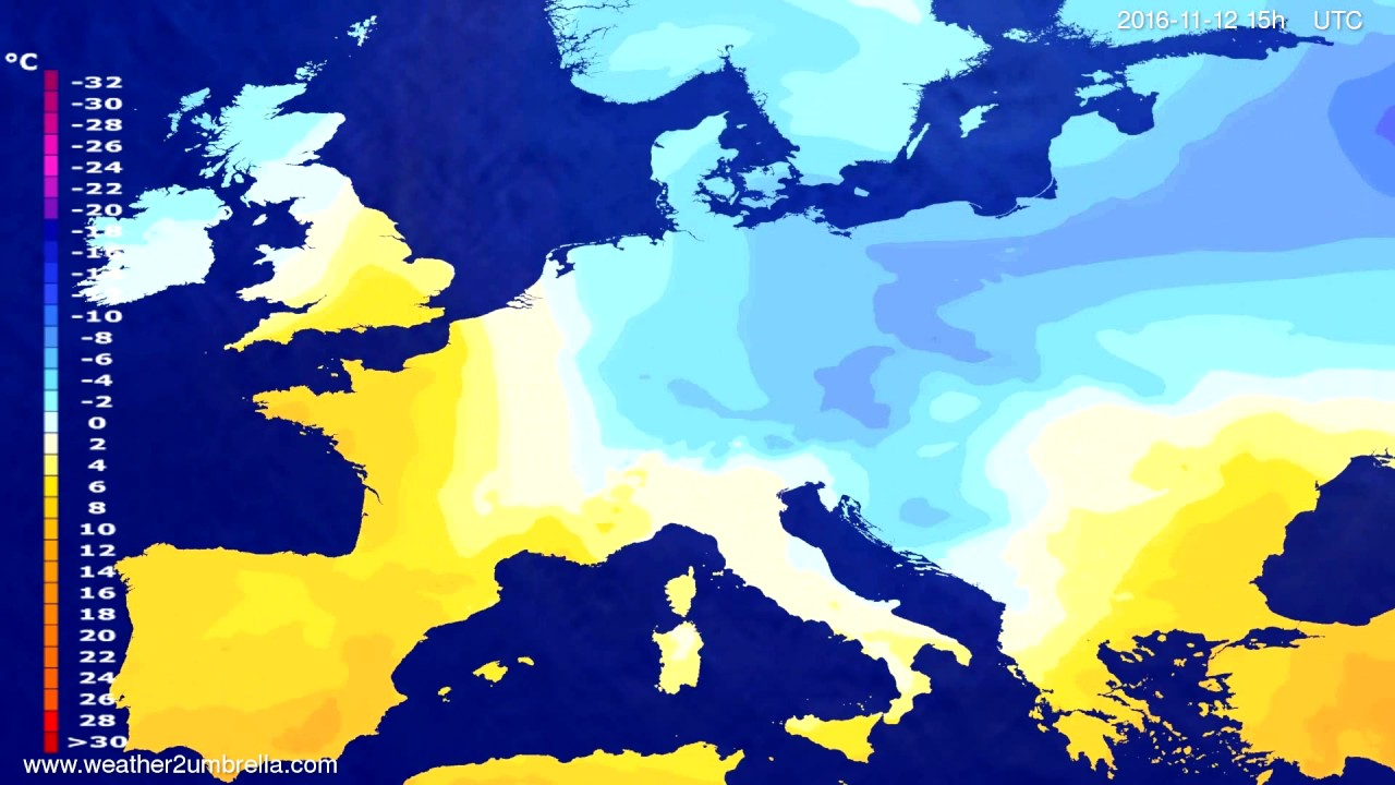 Temperature forecast Europe 2016-11-10