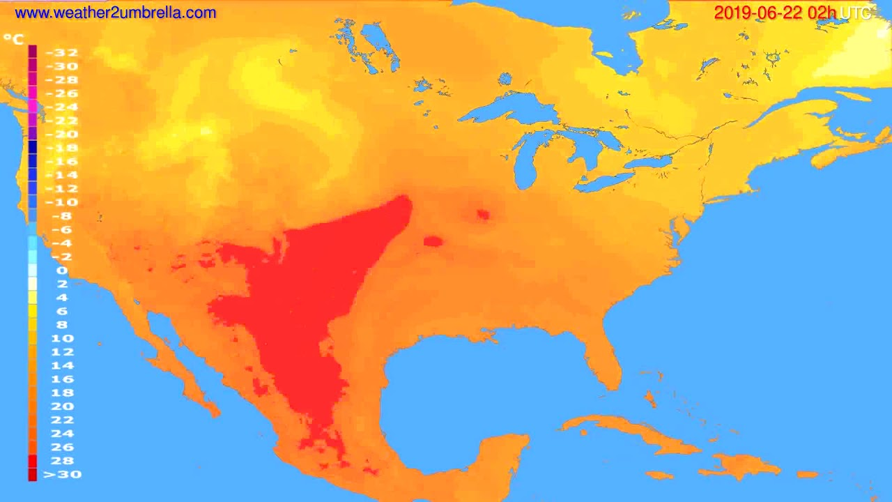Temperature forecast USA & Canada // modelrun: 12h UTC 2019-06-19