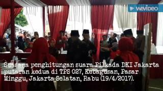 Pasangan Basuki Tjahaja Purnama dan Djarot Saiful Hidayat kalah dibandingkan pasangan Anies Baswedan dan Sandiaga Uno dalam perhitungan suara di TPS 027, Kebagusan, Pasar Minggu, Jakarta Selatan, Rabu (19/4/2017). TPS itu tempat Megawati Soekarnoputri menggunakan hak pilihnya.