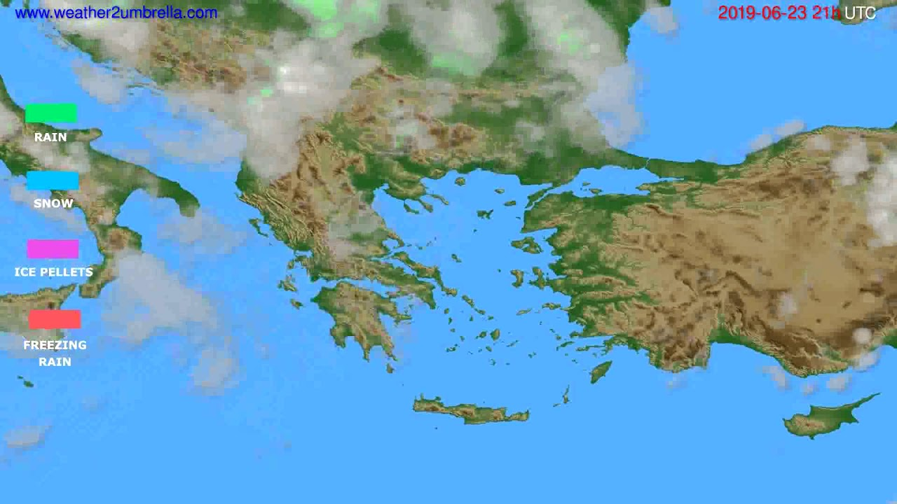 Precipitation forecast Greece // modelrun: 00h UTC 2019-06-22