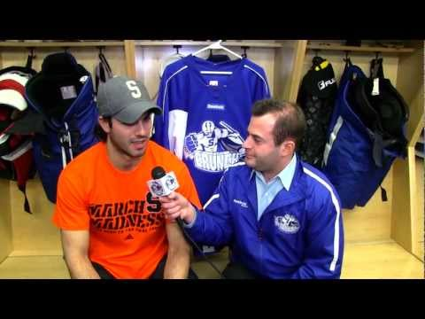 Barberio - Defenseman Mark Barberio talks with Dan D'Uva about the Crunch's 1-0 win Wednesday vs. Wilkes-Barre/Scranton and facing former teammate Dustin Tokarski when ...