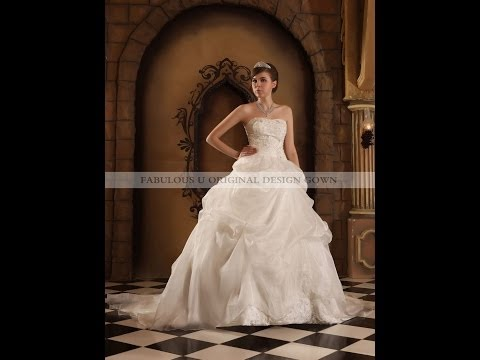 Sweetheart beaded embroidery satin organza gown 3682