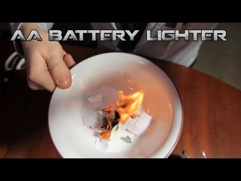 Household Hacker - AA Battery + Gum Wrapper Lighter