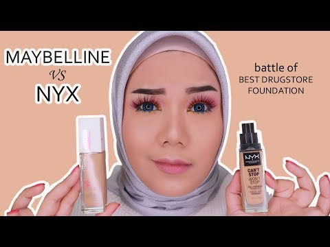 Battle Of Maybelline Superstay Vs Nyx Can't Stop Won't Stop Foundation (bahasa)