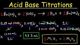 This chemistry video tutorial explains how to solve acid base titration problems.  It provides a basic introduction into acid base titrations with the calculations, formulas, & equations that go with it.  It explains how to solve acid base titration problems using a formula and a conversion process in typical solution stoichiometry problems.  This video contains plenty of examples and practice problems including those with KHP.New Chemistry Video Playlist:https://www.youtube.com/watch?v=bka20Q9TN6M&t=25s&list=PL0o_zxa4K1BWziAvOKdqsMFSB_MyyLAqS&index=1Access to Premium Videos:https://www.patreon.com/MathScienceTutorFacebook:  https://www.facebook.com/MathScienceTutoring/