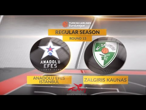 EuroLeague Highlights RS Round 13: Anadolu Efes Istanbul 71-84 Zalgiris Kaunas