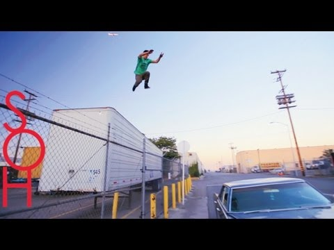 STUNTS - MUSIC - http://itunes.apple.com/us/album/queens-kings-feat.-fingazz/id504905653 3 Amazing Athletes Do Parkour and freerunning stunts With A Moving Car...But ...
