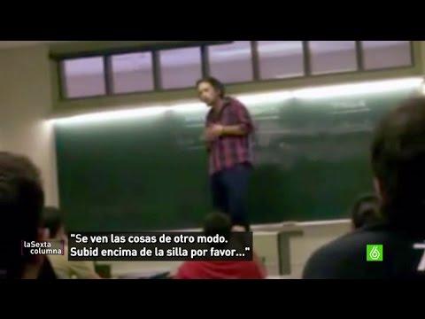 Pablo Iglesias, un profesor que se subía la silla para cuestionar la autoridad