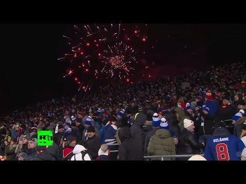 В Хельсинки состоялся первый матч КХЛ на открытом воздухе (видео)