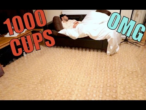 1000 CUPS AROUND BED PRANK!!!