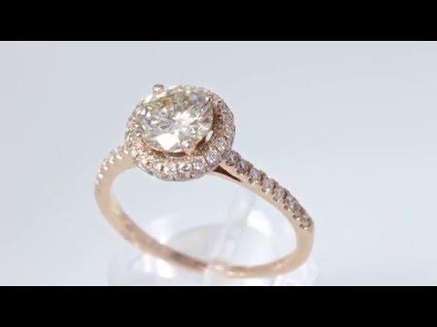 1.56CT Round Brilliant Diamond Rose Gold Halo Engagement Ring Cert/Appr $11K+ $3495