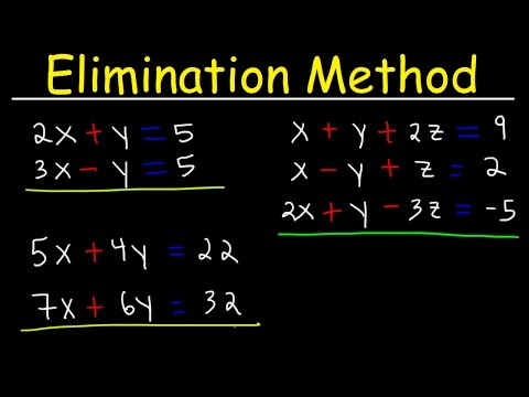 Elimination Method For Solving Systems of Linear Equations Using Addition and Multiplication, Algebr