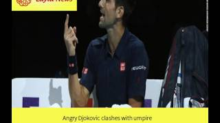 Novak Djokovic finished perfect in the group stage at the World Tour Finals after crushing David Goffin -- and clashing with the chair umpire. for more detai...