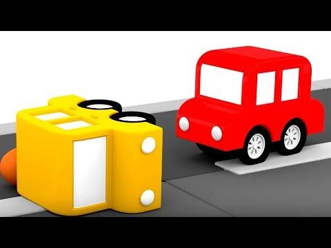 4 coches coloreados. Los accidentes en el camino. Dibujos animados para bebés.