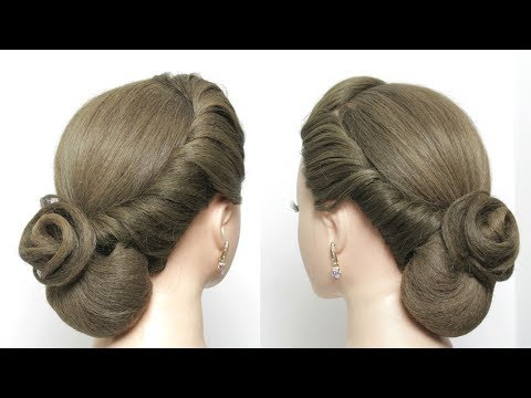 Hairstyles for long hair - Easy Elegant Bun Hairstyle For Long Hair Tutorial. Bridal Updo