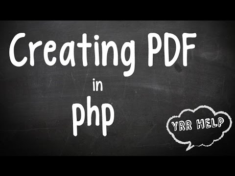 Creating Pdf In PHP