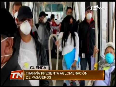 Tranvía presenta aglomeración de pasajeros