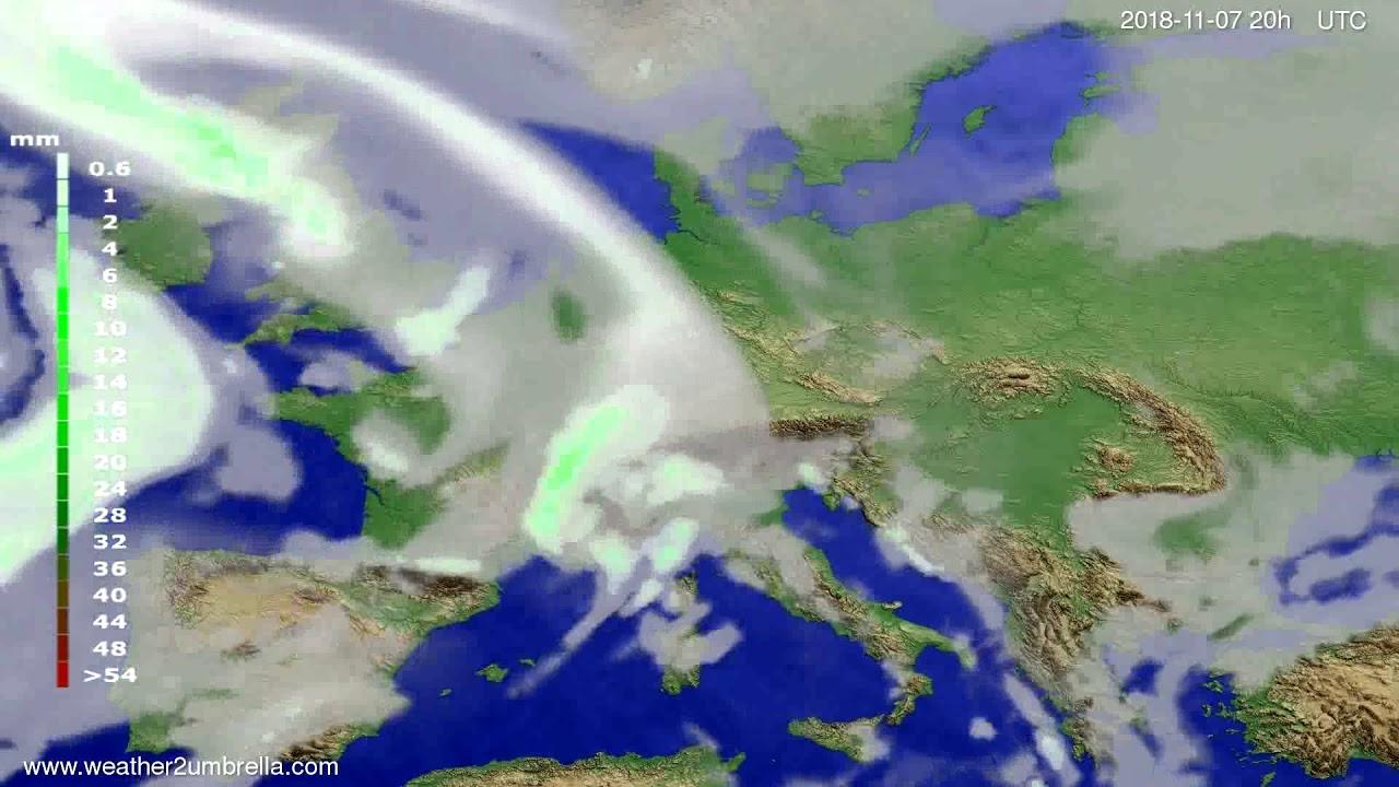Precipitation forecast Europe 2018-11-05