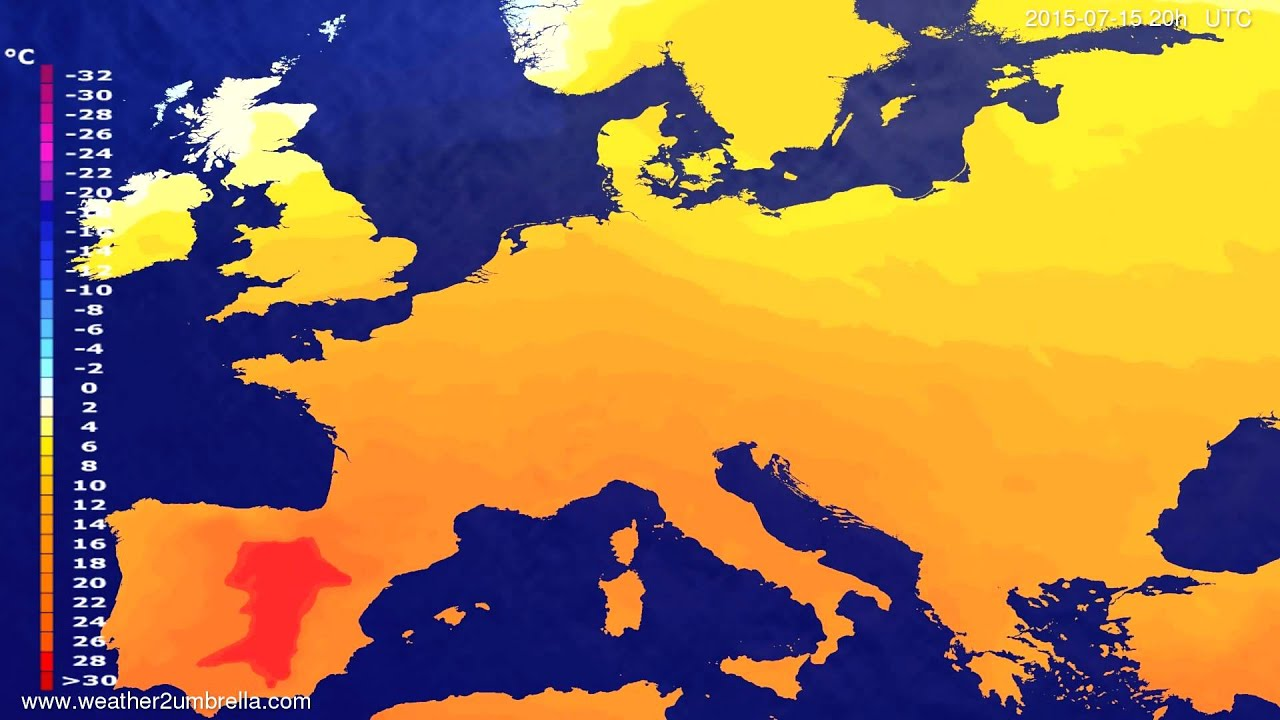 Temperature forecast Europe 2015-07-12