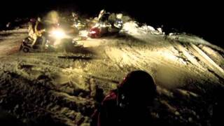 4. Yamaha Nytro RTX SE & Arctic Cat Firecat F6 Snowmobiling at night with on board footage