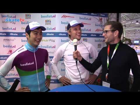 Ronald Mulder & Kai Verbij na de winst op de 500 meter - KNSB Cup