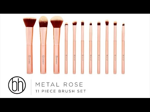 BH Cosmetics BH Cosmetics Metal Rose 11 Piece Brush Set With Cosmetic Bag